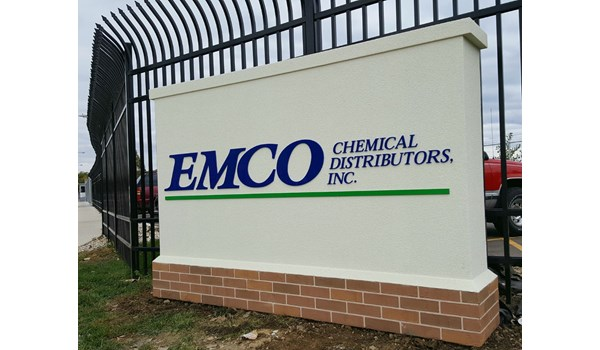 Monument Sign for EMCO Chemical in North Chicago IL Brick and Stucco look with raised letters