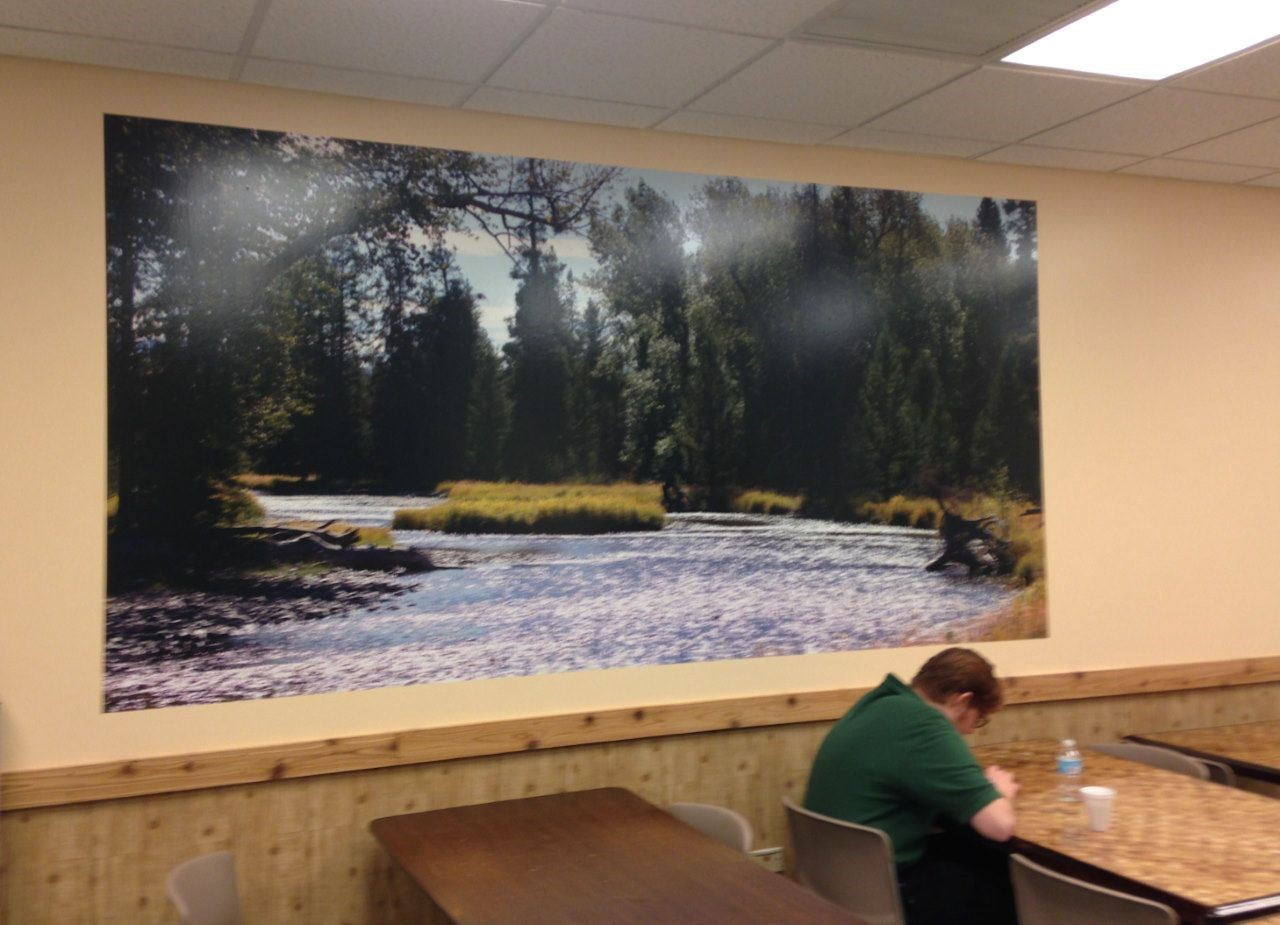 Large format picture mural installed on wall.  Bass Pro Shops Gurnee IL
