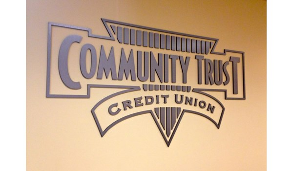Metallic faced acrylic logo for wall of credit union conference room in Gurnee IL