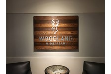 Dimensional Letters on Wood Backer  for Woodland Midstream / Blind mounted