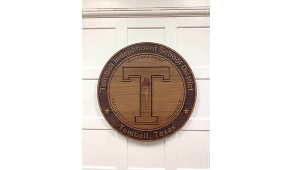 School Wood Engraved and Routed Logo Tomball, TX