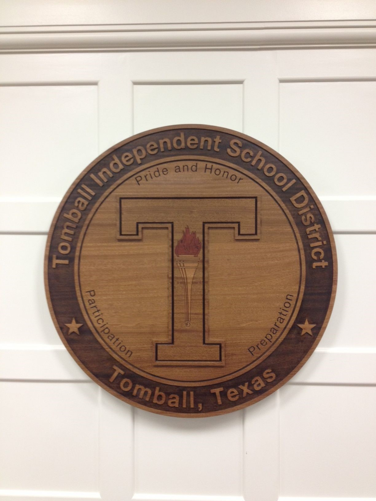 Engraved Wood Crest for Tomball School Logo