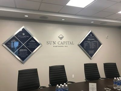 Acrylic display and metal logo for Sun Captial Partners