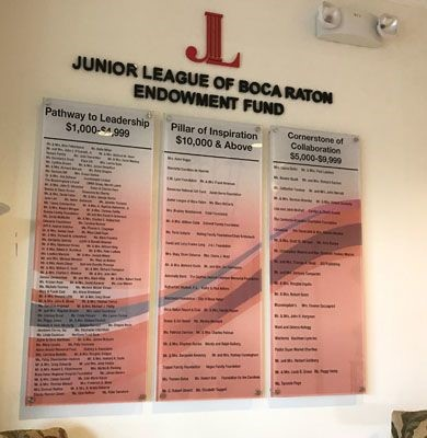 Acrylic Donor signage and letters for the Junior League of Boca Raton