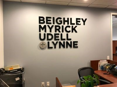 Acrylic Logo for Beighley Myrick Udell and Lynne