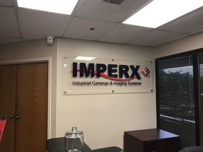 Acrylic signage with dimensional letters for Imperx