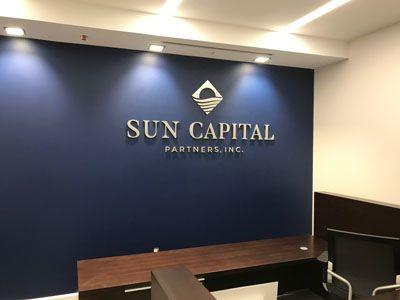 Brushed metal logo for Sun Capital Partners