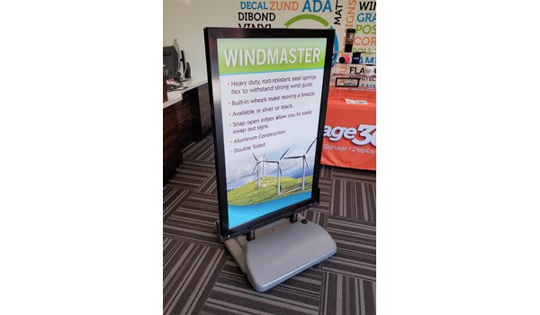 Here is an example of our Windmaster sign. A great option for sturdy signage that allows for interchangeable inserts.