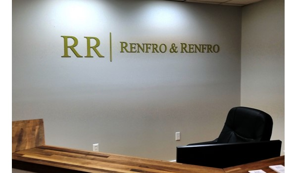 We cut these letters out in our shop and added a nice professional look for Renfro Law.