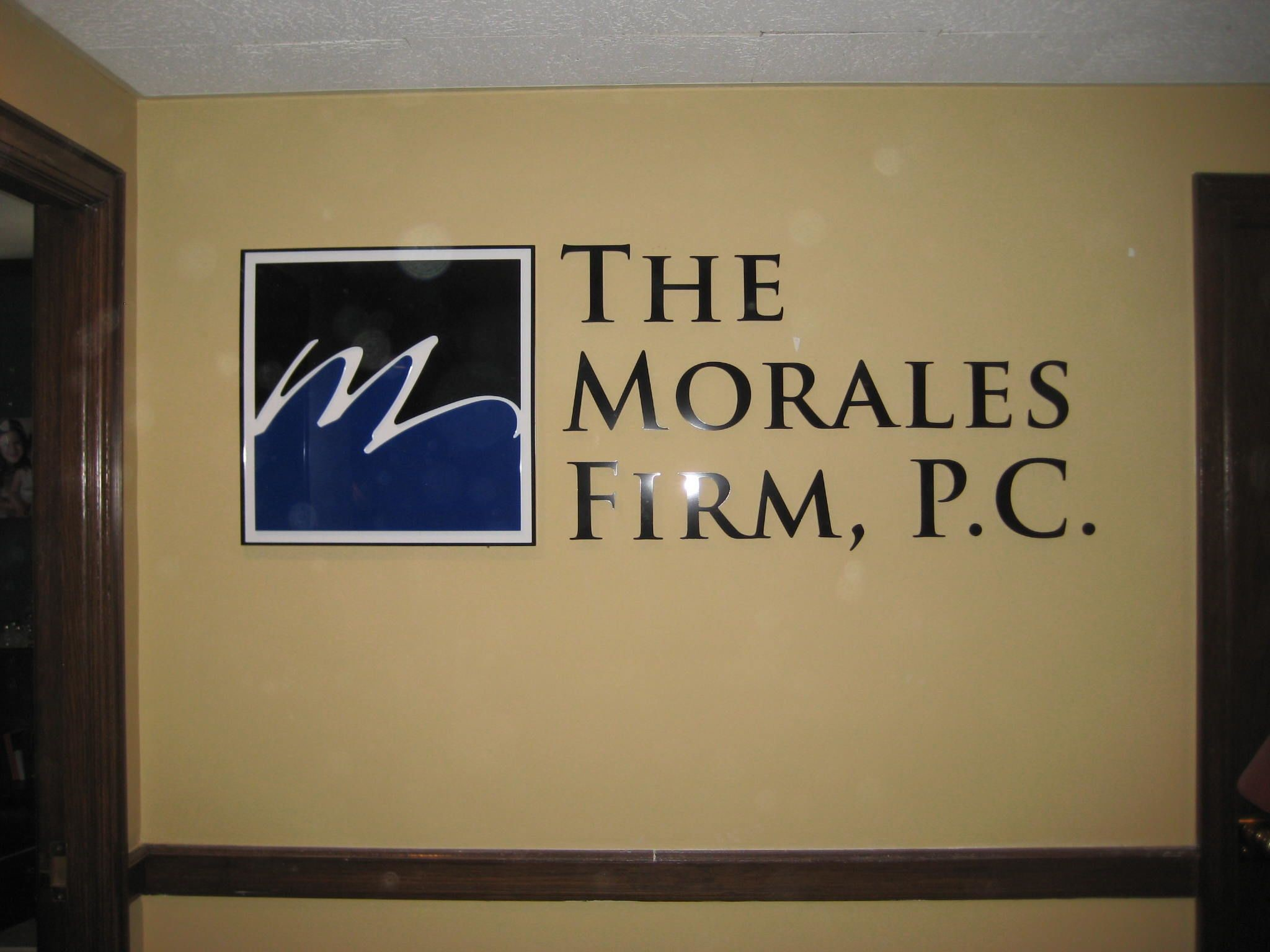 Interior Sign for The Morales Firm in San Antonio, TX