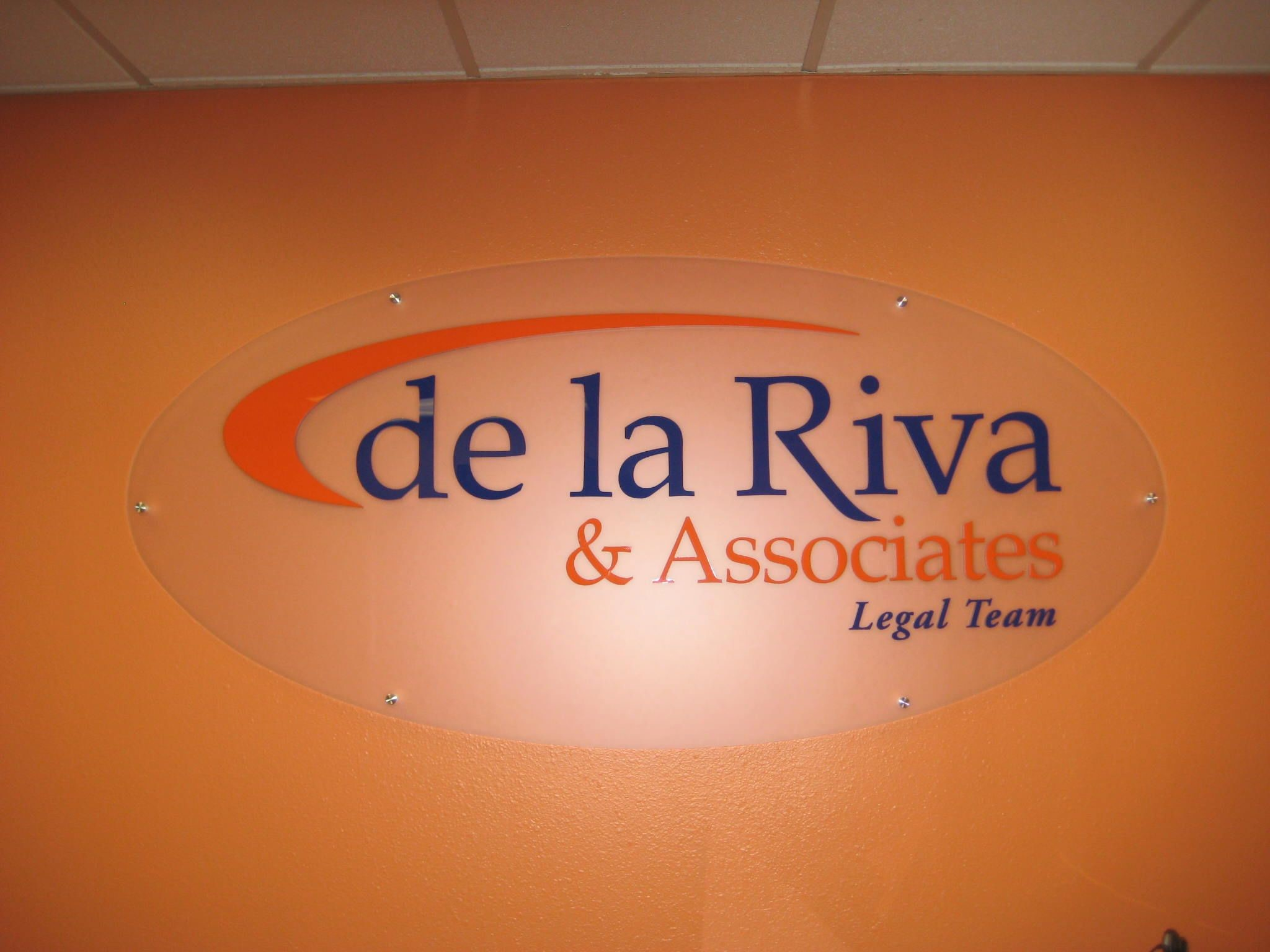 Interior Sign for de la Riva & Associates Legal Team in San Antonio, TX