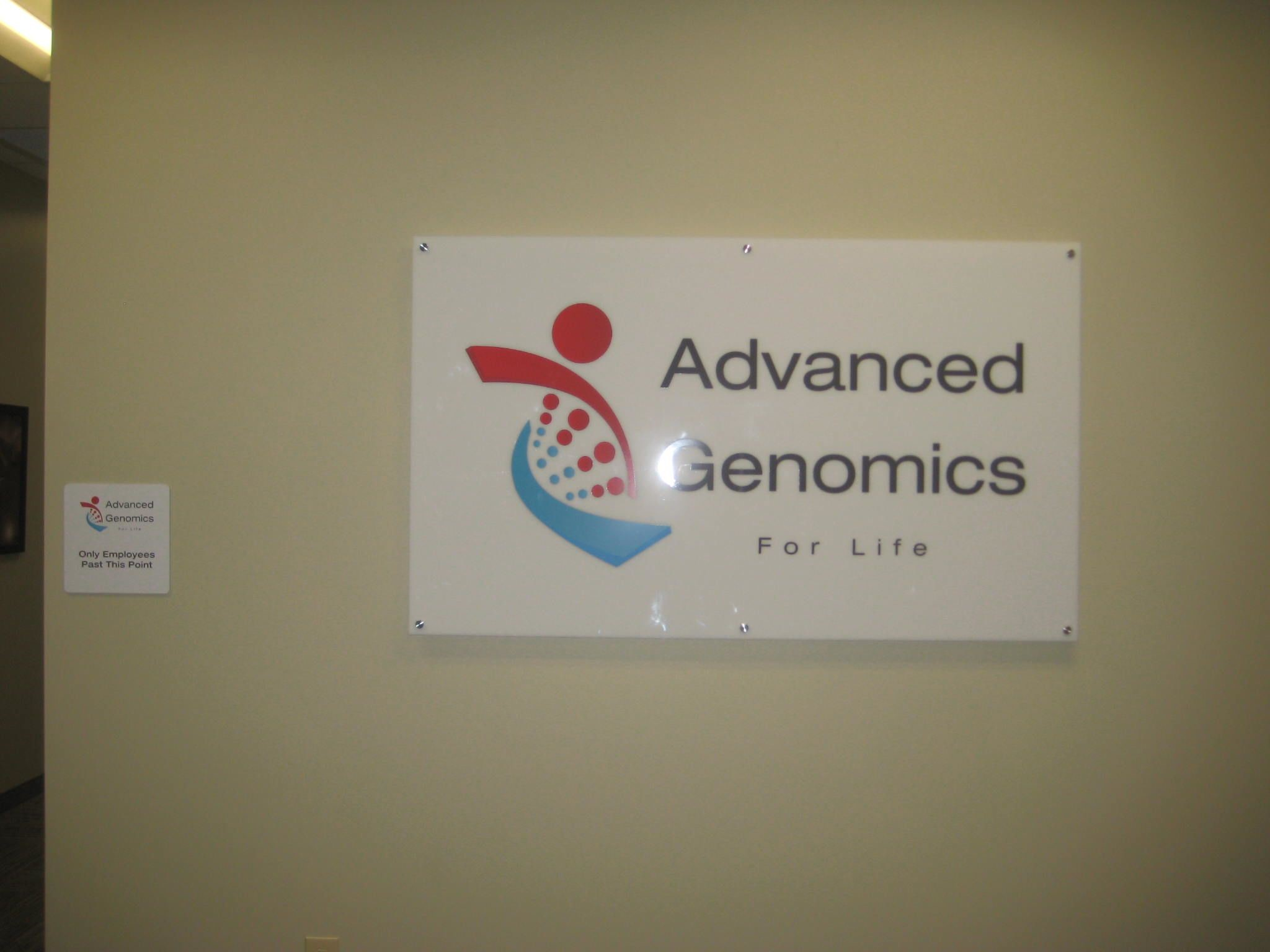 Interior Sign for Advanced Genomics in San Antonio, TX