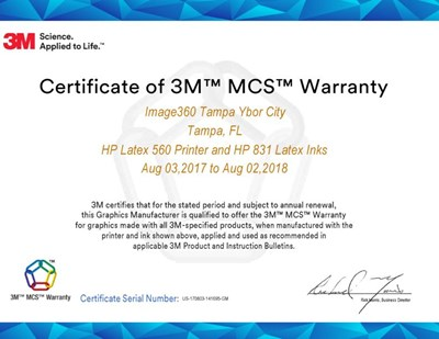 Image360 Tampa-Ybor City Receives 3M MCS Warranty Certification