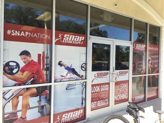 Window graphics for Snap 24-7 fitness in Tampa FL